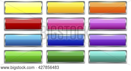 Plastic Colored Buttons In Modern Style. Blank Shiny Colored Buttons. Banner Web Buttons. Vector Ill