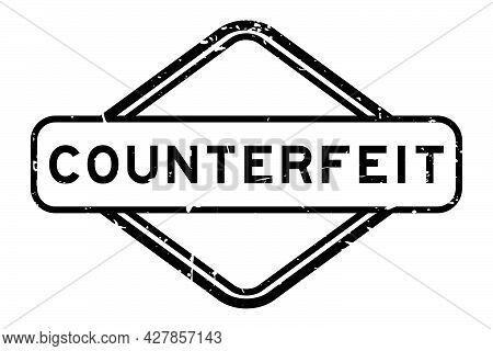 Grunge Black Counterfeit Word Rubber Square Seal Stamp On White Background