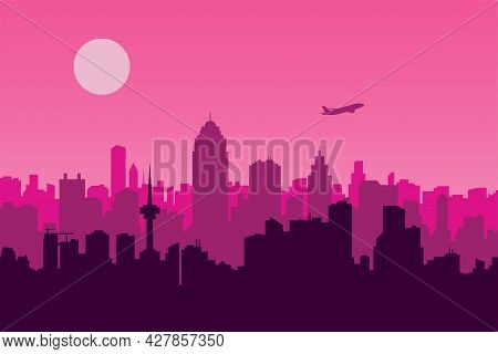 Vector Illustration Of An Urban Scene With A Pink Background, A Metropolis, And An Airplane Silhouet
