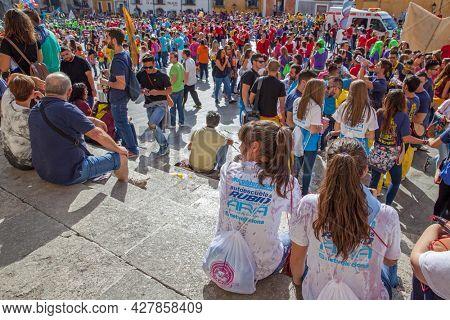 Cuenca, Spain - September 18, 2015: People in Plaza Mayor in Cuenca during The San Mateo fiesta before bull running