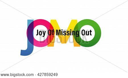 Jomo Word Vector Illustration. Joy Of Missing Out. Colored Rainbow Text. Vector Banner. Corporate Co