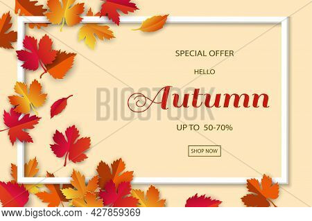 Autumn Or Fall Sale Background With Colorful Leaves For Shopping Promotion,poster,leaflet Or Web Ban