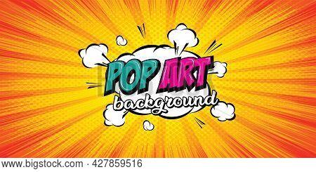 Comic Pop Art Cloud Bubble. Background Halftone Dots, With Cloud Cartoon Pop Art Style. Vector Illus