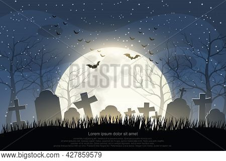 Halloween Cemetery In The Night Of The Full Moon And A Flock Of Flying Bats Background.illustrator V