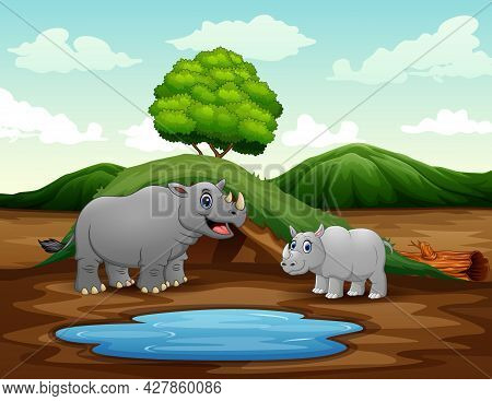 Cartoon A Mother Rhino With Her Cub At Nature