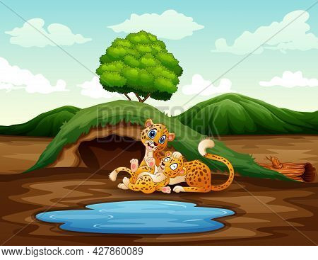 Cartoon A Mother Cheetah With Her Cub Playing At Nature