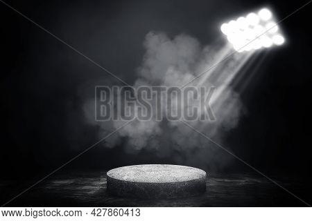 Empty Space Of Concrete Podium Or Pedestal In Studio Dark Room Black Concrete Floor Grunge Texture B