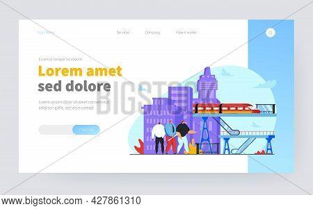 Tiny People Conducting Construction Job. Railway, Infrastructure, Bridges Flat Vector Illustration.