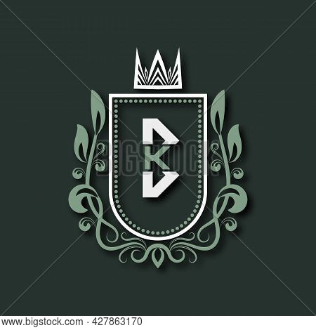 Vintage Premium Monogram Of Letter B. Heraldic Coat Of Arms In Form Of Shield Surrounded By Floral O