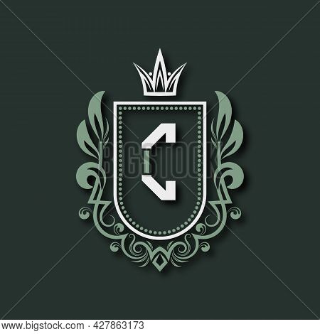 Vintage Premium Monogram Of Letter C. Heraldic Coat Of Arms In Form Of Shield Surrounded By Floral O