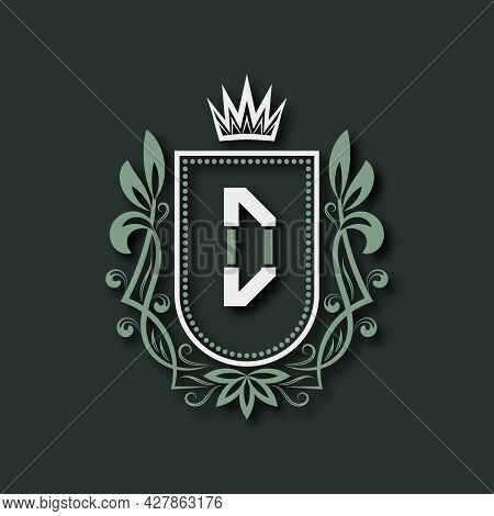 Vintage Premium Monogram Of Letter D. Heraldic Coat Of Arms In Form Of Shield Surrounded By Floral O