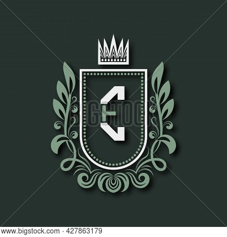 Vintage Premium Monogram Of Letter E. Heraldic Coat Of Arms In Form Of Shield Surrounded By Floral O