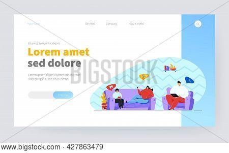 Internet And Social Media Addiction Problem. Family Gathering In Living Room Home, Using Digital Dev