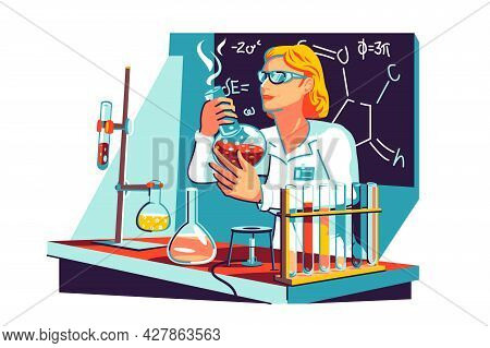 Female Scientist In Coat In Lab Vector Illustration. Scientist With Flasks Work On Formula Flat Styl