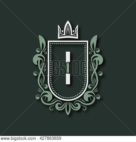 Vintage Premium Monogram Of Letter I. Heraldic Coat Of Arms In Form Of Shield Surrounded By Floral O
