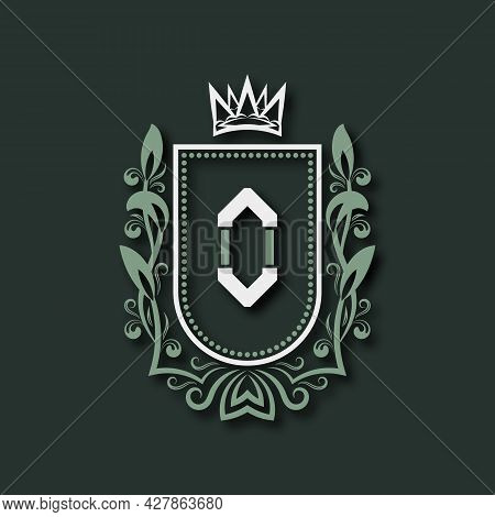 Vintage Premium Monogram Of Letter O. Heraldic Coat Of Arms In Form Of Shield Surrounded By Floral O