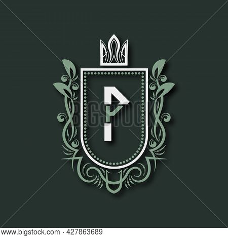 Vintage Premium Monogram Of Letter P. Heraldic Coat Of Arms In Form Of Shield Surrounded By Floral O