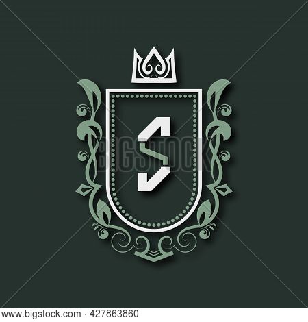 Vintage Premium Monogram Of Letter S. Heraldic Coat Of Arms In Form Of Shield Surrounded By Floral O