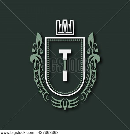 Vintage Premium Monogram Of Letter T. Heraldic Coat Of Arms In Form Of Shield Surrounded By Floral O
