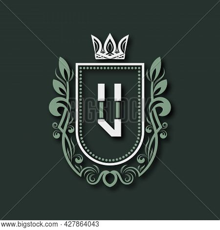 Vintage Premium Monogram Of Letter U. Heraldic Coat Of Arms In Form Of Shield Surrounded By Floral O