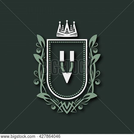 Vintage Premium Monogram Of Letter V. Heraldic Coat Of Arms In Form Of Shield Surrounded By Floral O