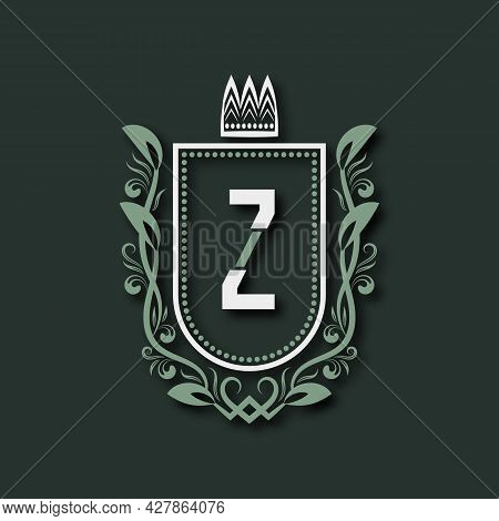 Vintage Premium Monogram Of Letter Z. Heraldic Coat Of Arms In Form Of Shield Surrounded By Floral O