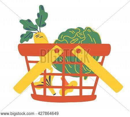 Grocery Shopping Basket Full Of Fresh Vegetables. Natural Food, Organic Vegetable. Cauliflower, Radi