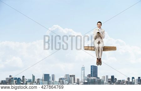 High School Female Student In Business Suit Sitting On Floating In Air Book. Musician With Music Bra