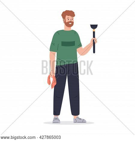 Young Man With A Plunger And A Rag. Regular Household Working. Housekeeping Activity. Flat Vector Ca