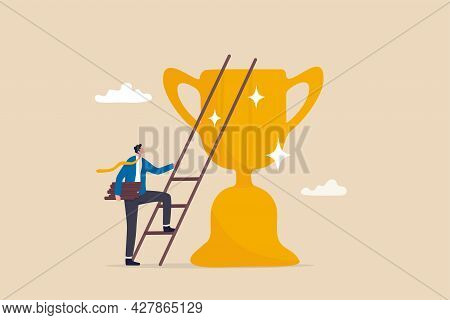 Building Ladder To Success, Strategy And Plan To Growing And Achieve Target Or Goal, Ambition And As
