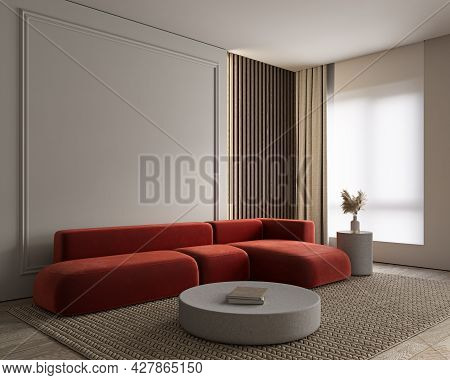 Modern Minimalist Gray, Beige Interior With Red Sofa, Wall Moldings, Curtains And Decor. 3d Render I