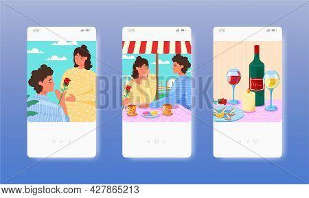 Happy Couple Having Date, Romantic Dinner In Restaurant. Mobile App Screens, Vector Website Banner,