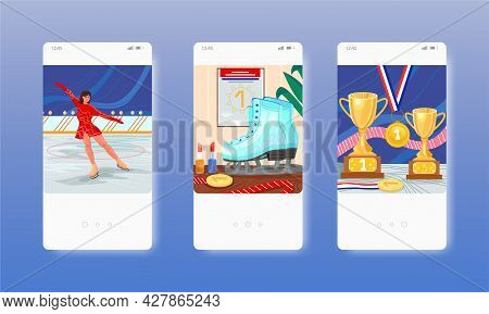 Figure Skating. Ice Skating Show. Woman Dancing On Ice Rink. Mobile App Screens, Vector Website Bann