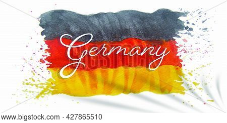 Watercolor Painting Germany Flag Independence Movement Day Greeting Card, Illustration Anniversary C