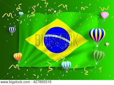 Illustration Anniversary Independence Day. Happy Brazil Day. Freedom National Day. Celebrate Annual