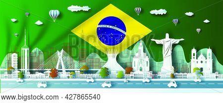 Landmark Illustration Anniversary Celebration Brazil Day With Green Flag Background. Travel Landmark