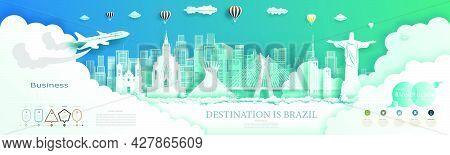Modern Business Brochure Design For Brazil Landmarks Advertising With Infographics.travel Landmark S