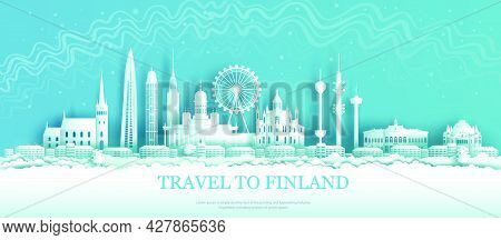 Finland Architectural Sights In Helsinki With Northern Lights Background.tour The City With Panorami