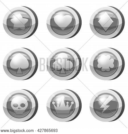 Set Of Silver Coins For Game Apps. Silver Icons Star, Heart, Card Suits, Crown, Symbols Game Ui, Gam