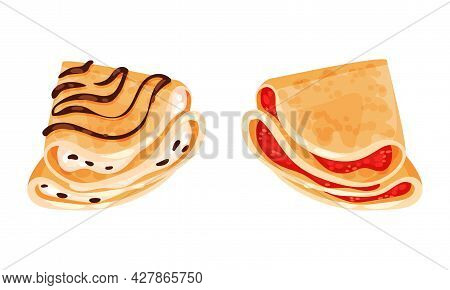 Sweet Crepe Or Pancake Served With Cream And Berry Filling Vector Set