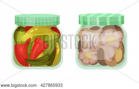 Closed With Lid Glass Jar With Preserved Pepper And Garlic Vector Set