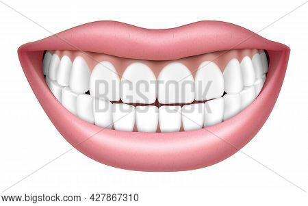 Realistic Smile With White Teeth, Lips And Teeth, Isolated On White Background, 3d Vector Illustrati