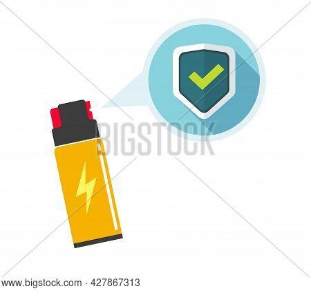 Self Defense Pepper Spray Bottle Flat Cartoon Illustration