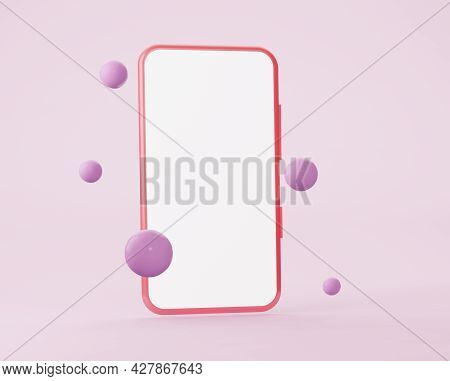 Mobile Phone Mockup With Flying Spheres. Minimalist Modern Design. Smartphone With Blank Screen. 3d