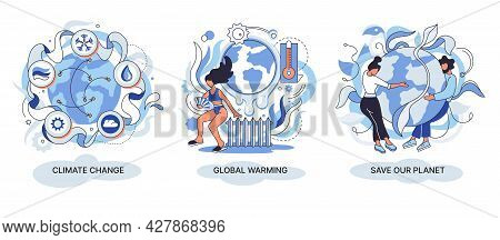 Change Climate Concept. Abstract Metaphor Of Climate Change And Saving The Planet, World Environment