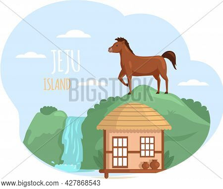 Jeju Island In South Korea, Asian Village Old House Vector Art. Thatched-roof Rural Hut, Horse Count