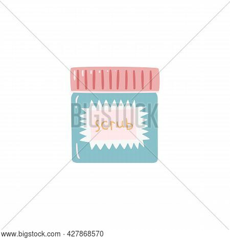 Jar With The Inscription Scrub On A Light Isolated Background. Flat Vector Illustration In Children`