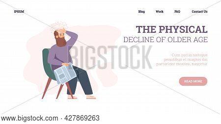 Physical Decline Of Older Age Website Banner Flat Vector Illustration.
