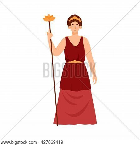 Hera Juno Ancient Greek Mythology Goddess Wife Of Zeus A Vector Illustration.