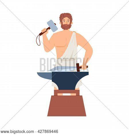 Hephaestus Greek God Blacksmith Olympian Hero In Ancient Greece Mythology.
